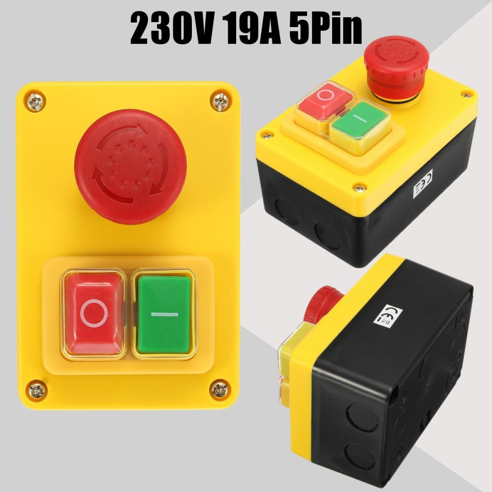 230 V 19A 5 Pin NVR Switch Emergency Stop Tombol Push ON/OFF untuk Mesin Bubut Mill Bor-Internasional