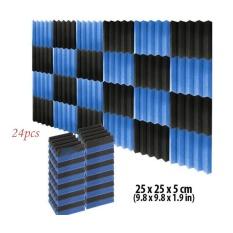 Beli 24Pcs Black Blue Acoustic Wedge Studio Foam Sound Absorption Wall Panels 25 25 5Cm Intl Cicilan