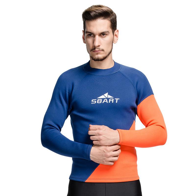 Top 10 2Mm Neoprene Hangat Wetsuit Men Menyelam Snorkeling Scuba Surf T Kemeja Rashguard Musim Dingin Swimwear Atasan Lengan Panjang Biru Orange Online