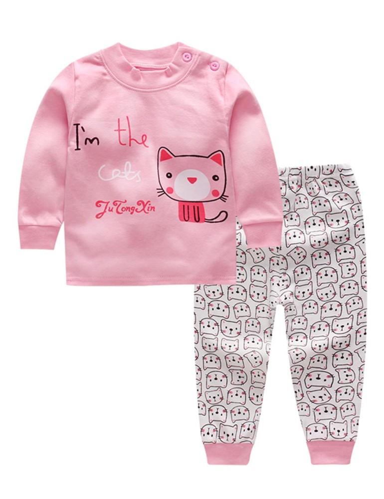 Kidlove 2 Pcs Kasual Bayi Pakaian Dalam Set Kaus Lengan Panjang Celana Panjang Lucu Piyama Homewear