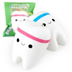 Beli 2Pcs Squishy Tooth Shaped Slow Rising Soft Pu Blue Pink Combo Intl Cicilan