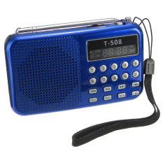 Beli 2Pcs T508 Mini Portable Led Stereo Fm Radio Speaker Usb Tf Card Mp3 Music Player Blue Red Baru