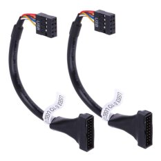 2pcs USB 3.0 20 Pin Male to USB 2.0 9 Pin Motherboard Female Cable - intl(Black)