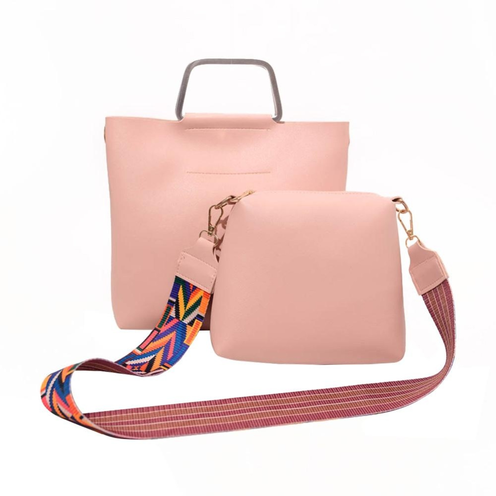 Jual 2Pcs Wanita Pu Kulit Casing Dengan Colorful Strap Clutch Bag Merah Muda Ori