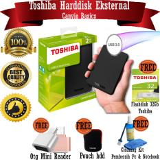 2TB HDD Toshiba Canvio Basic Harddisk External - Black - GRATIS Flashdisk 32Gb Toshiba + Otg Mini Reader + Pouch Harddisk + Cleaning Kit ( Pembersih PC & Notebook )