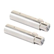 2X XLR 3Pin Male To Female Pembalikan Fase Adaptor Plug Soket Kabel Connect (Perak)