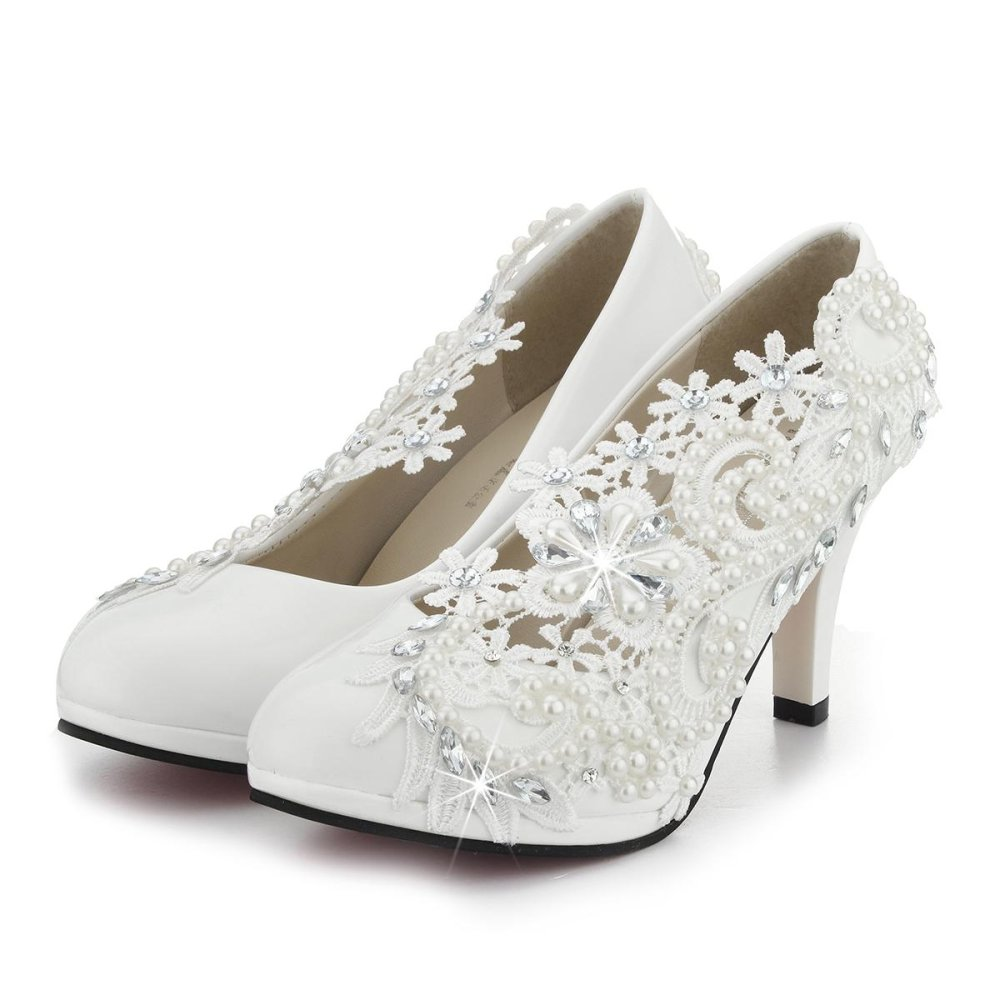 3 ''/8 Cm Ladies Heel Gading Lace Kristal Mutiara Pernikahan Bridal Sepatu Pompa Hadiah-Intl