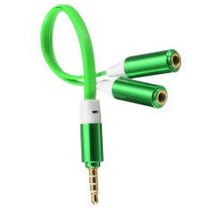 3.5 Mm MALE untuk 2 Dual Female Pemisah Colokan Headphone Y Adaptor Audio Mp3 Kabel
