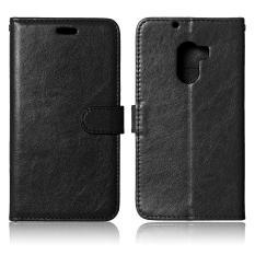 3 Slot Kartu Leather Flip Stand Phone Case untuk Lenovo VIBE X3 Lite/A7010/K4 Catatan-Hitam -Intl