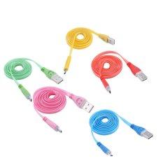 3 Kaki 1 M Light Up LED Micro USB Data Sync Charger Kabel untuk HTC LG Samsung S3 S8 MA (merah)