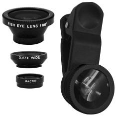 Harga Hemat 3 In 1 Clip On Design 67X Wide Angle 180 Derajat Mata Ikan Macro Lens Camera Lens Kit Hitam