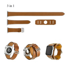 Harga 3 In 1 Cuff Single Double Tour Wraps Strap For Apple Watch Band Leather Loop Extra Long 42Mm Brown Intl Lengkap