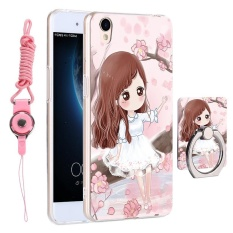 3 In 1 Cute Phone Case 3D Relief Pola Back Cover FOR OPPO A37/NEO9 With Ponsel Lanyard Cincin Pemegang Kickstand