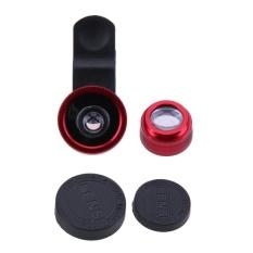 3-In-1 Mata Ikan + Wide Angle + Makro Lensa Kamera Kit untuk Ponsel Pintar (Merah)-Intl