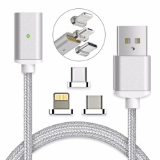 Magnetic clip-on USB Fast Charging and High Speed data transferis Sync Braided Cable 3-in-1 Magnetic LightingMicro USBType-C Mini Metal connector(1 Magnetic Charging data Cable, 1 Lighting connector, 1 Micro USB connector and 1 Type-C connector )