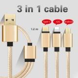 Harga 3 In 1 Nilon Tipe C 8 Pin Micro Usb Konektor Kabel Pengisian Charger Usb Untuk Semua Ponsel Emas Internasional Oem
