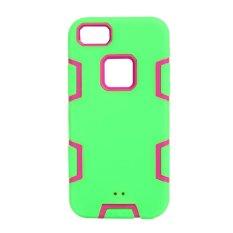 3 In 1 Shockproof Antidust Silikon Casing Ponsel untuk iPhone 5/5 S (Hijau Muda)-Intl