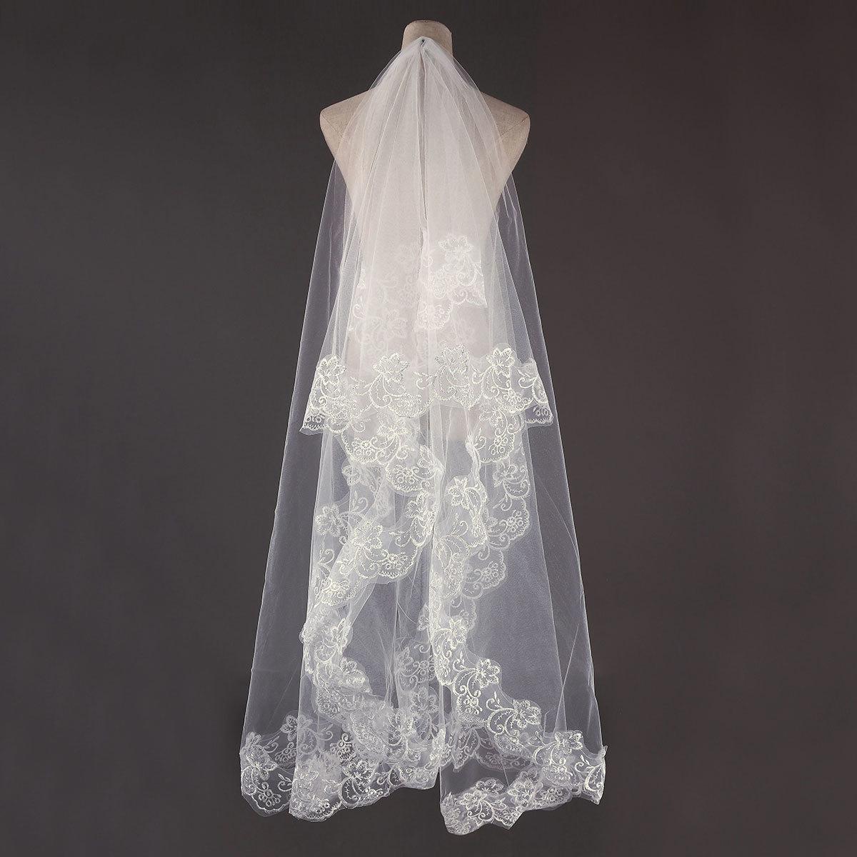 Harga 3 M 1 Layer Elegan Renda Bordiran Edge Pengantin Pernikahan Tudung Katedral Lantai Panjang Gading Baru Internasional Terbaru