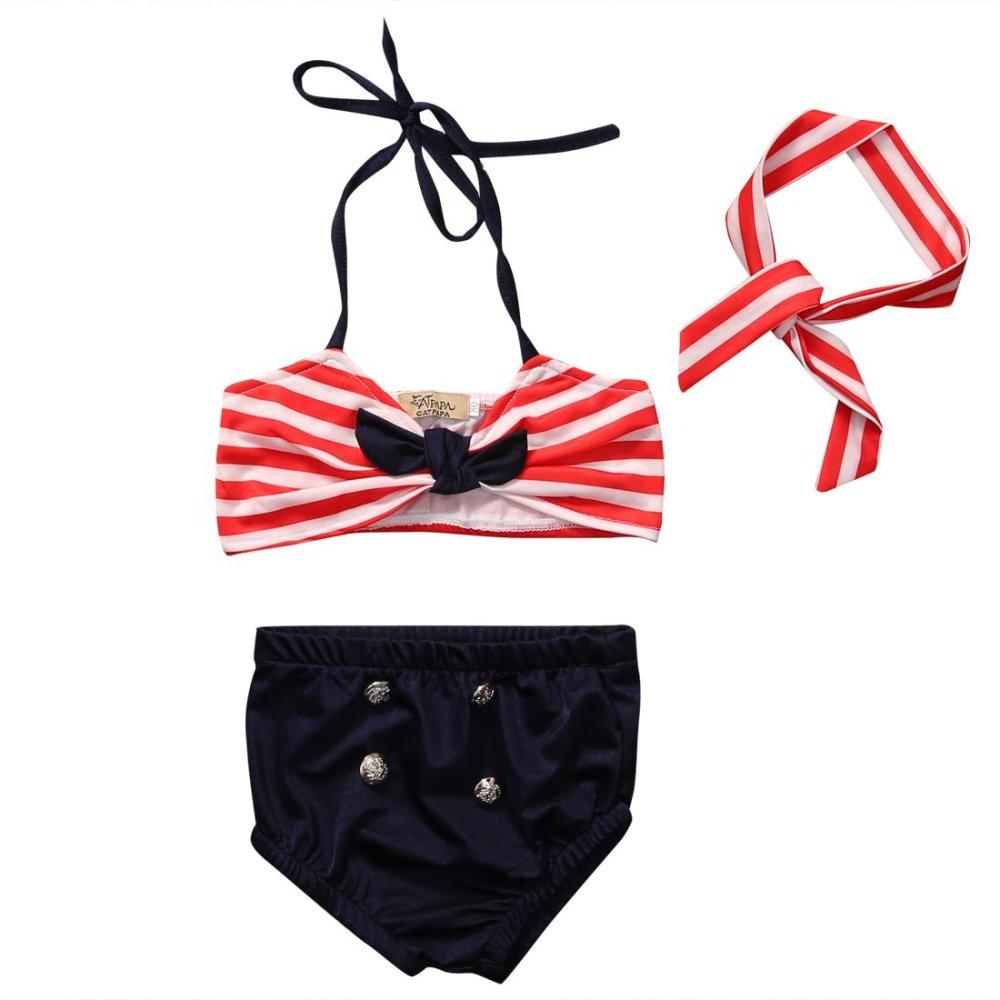 Spesifikasi 3 Pcs Musim Panas Fashion Cute Kid Girls Clothing Set Baby B*K*N* Stripe Swimsuit Swimming Pakaian Beachwear Melihat Review Kami Agar Mendapatkan Barang Yang Paling Sesuai Yang Anda Ingin Cari