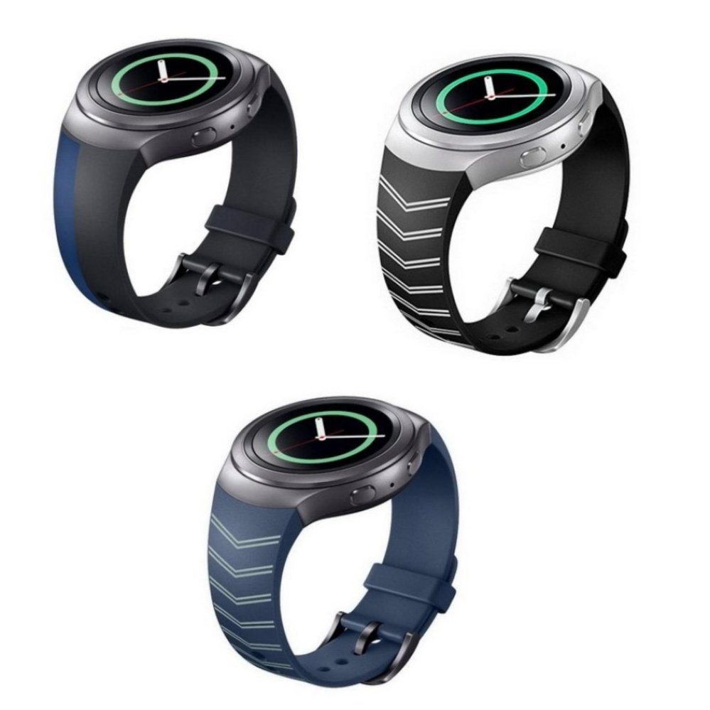 3 Pcs Silicone Replacement Strap Band dengan Gesper Gesper Logam untuk Samsung Galaxy Gear S2 SM-R720 Smart Watch (hitam) -Intl