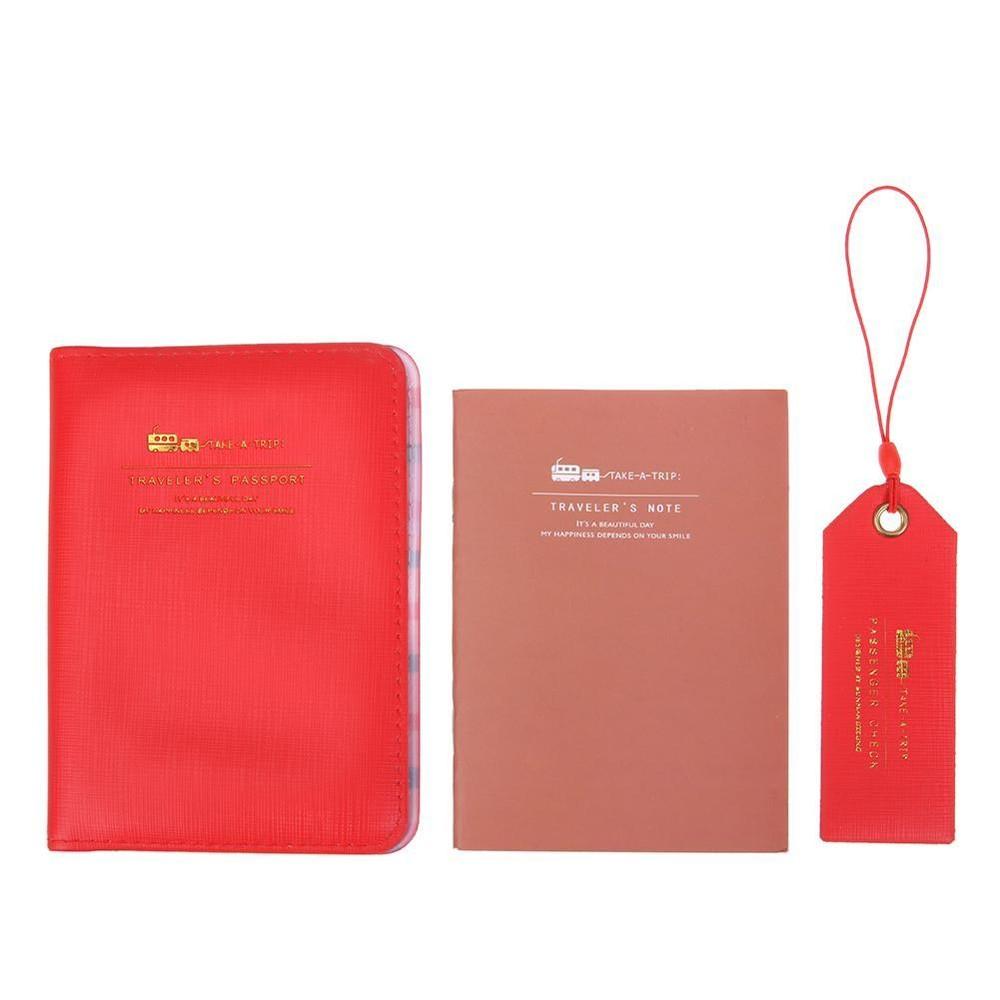 3 Pcs/set Travel Portable Passport Holder + Luggage Tag + Notebook Tiket Cover-Intl