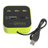 Jual 3 Port Usb 2 Hub Multi Card Reader For Sd Mmc M2 Ms Pm Colour It In Satu Satu Set