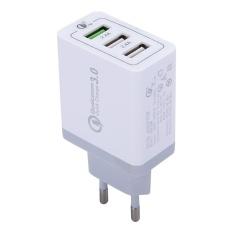 3 Port USB (3A + 2.4A + 2.4A) Cepat Charger QC 3.0 Travel Charger untuk IPhone, IPad, Samsung, HTC, Sony, Nokia, LG dan Lainnya Smartphone, EU Plug-Intl