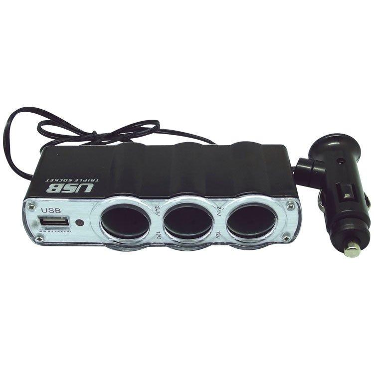 3 Way Port Car Cigarette Lighter Socket Splitter Charger Adapter DC 12V USB LED WF-0307