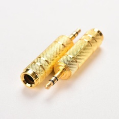 Promo 3 5Mm Audio Jack Male To 6 35Mm Female Jack Plug Adaptor Berlapis Emas Audio Mikrofon Kabel Adaptor Konverter Stereo 2 Pcs Intl