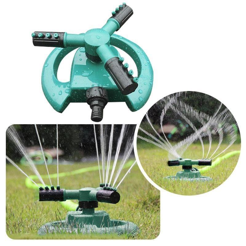Iklan 360 °C Lingkaran Rotating Sprinkler 3 Nozel Garden Lawn Pipa Selang Spray Irigasi Internasional