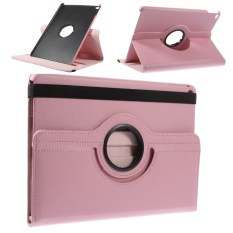 360 Derajat Rotary Stand Lengkeng Grain Leather Flip Cover untuk iPad Air 2-Pink