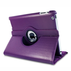 360 Derajat Rotasi Smart Cover PU Leather Cover Cover Shell untuk Apple IPad 3 (Ungu)-Intl