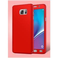 360 Full Body Cakupan Perlindungan Hard Hibrida Ultra Tipis Slim Case Penutup dengan Tempered Glass Screen Protector untuk Samsung Galaxy NOTE 5 (Merah) -Intl