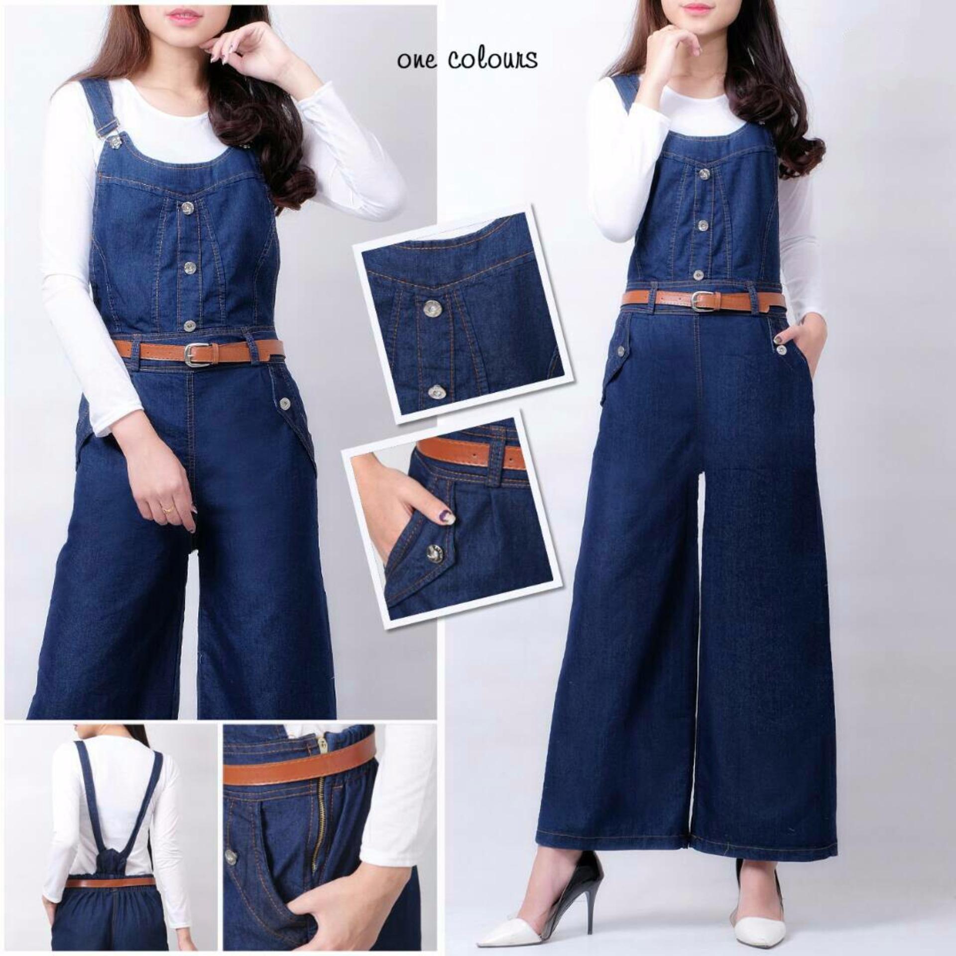 369 Jumpsuit Kulot Jeans Wanita Biru Tua - Gratis Belt dan Kaos Putih