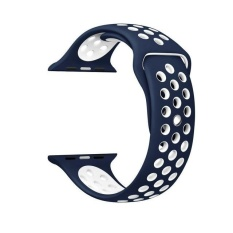 Beli 38Mm 1 1 Size Strap Silicon Sports Watch Band Strap For Apple Watch Dark Blue And White Oem