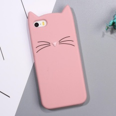 Case Silikon Lembut Gambar Kucing 3D Untuk iPhone SE 5 S 5 Warna Pink
