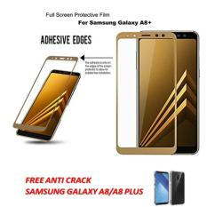 3D CANDY ORIGINAL FULL  COVER TEMPERED GLASS PROTECTOR  FILM 0,26 M 9H HARDNESS GLASS PREMIUM 3D FOR SAMSUNG GALAXY A8 PLUS  2018  ( JAPAN MATERIAL GLASS) - GOLD   FREE ANTI CRACK