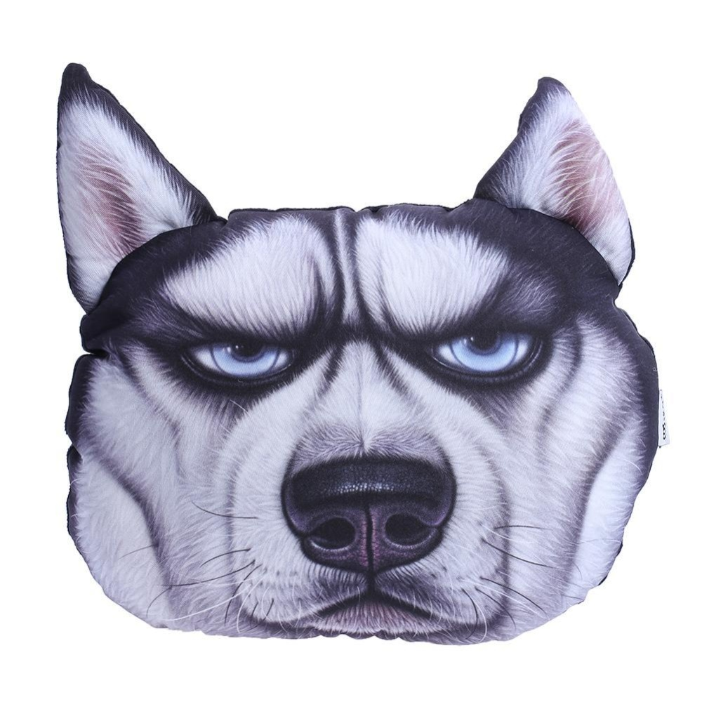 3D Dog Printing Sofa Cushion Neck Pillow Car Travel Headrest Birthday Gift(Black) - intl