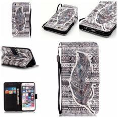 3D pola kulit kasus untuk iPhone 6 Plus/6S Plus 13,97 cm jual kantong dompet kartu berdiri bulu suku - International