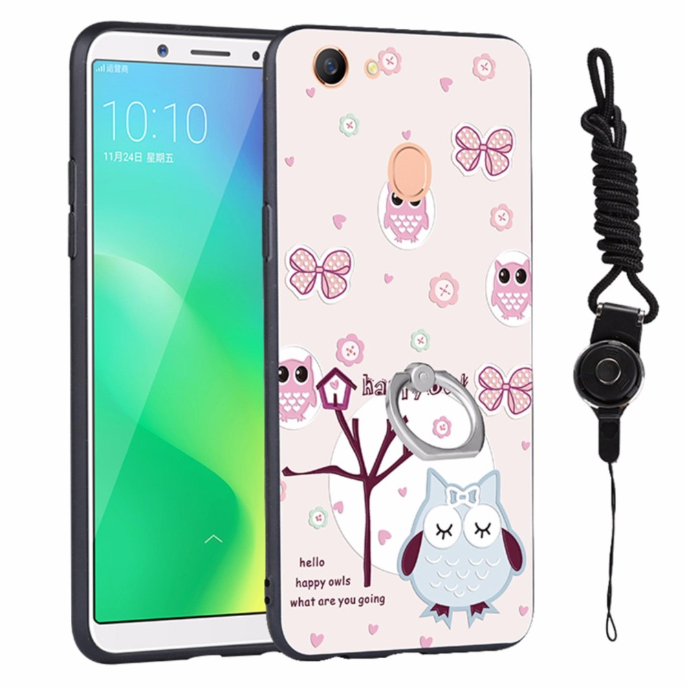 3D relief painting style protection shell wish Fashion lanyard finger ring phone case for OPPO A79 6.01 inch - intl