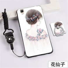 3D Relief Silica Gel Soft Phone Case for OPPO R7S with a Ring and a Rope (Multicolor) - intl