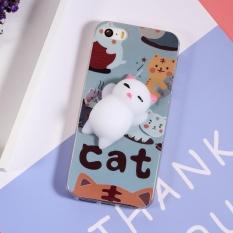 3D Squeeze Silikon Kartun IMD TPU Kneading Squishy Case untuk IPhone SE 5 S 5-Kucing Lucu-Intl