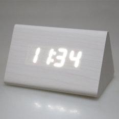 3D Digital Kayu Segitiga Putih Jam Alarm Desktop With Kabel USB-Internasional