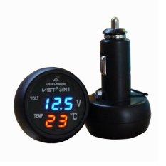 Toko 3 In 1 Voltmeter Digital Termometer Usb Charger Mobil Biru Merah Tampilan Dekat Sini