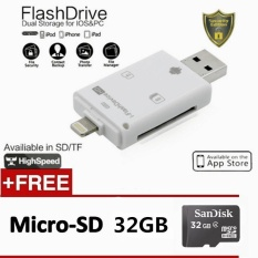 3in1 SD TF Card Reader untuk IPhone 7 6 S PLUS 5 S IPad + PC + Android Mikro USB Smart Phone OTG USB Flash Drive + 32 GB MEMORY CARD-Intl