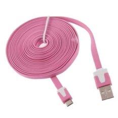 3 M Micro USB Kabel Data Flat/Charger Kabel untuk Micro USB Smartphone Ponsel Seperti Samsung Huawei ZTE HTC (Pink) -Intl