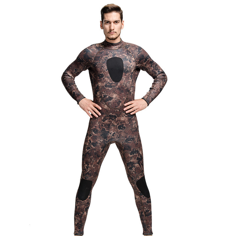 Harga 3Mm Karet Neoprene Men One Piece Wetsuit Snorkel Scuba Dive Suit Musim Dingin Hangat Surf Rash Guard Swimwear Panjang Sleeve Camo Online