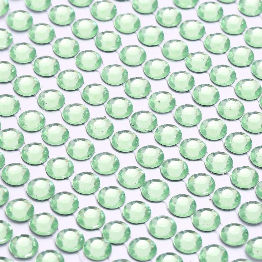 3 Mm Multi Warna Permata Kristal Gemerlap Mobil Rhinestone Stiker Rekat (Hijau)