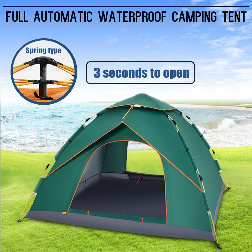 Diskon 4 5 Orang Waterproof Automatic Instan Outdoor Pop Up Tenda Camping Hiking Tenda Hijau Intl Akhir Tahun