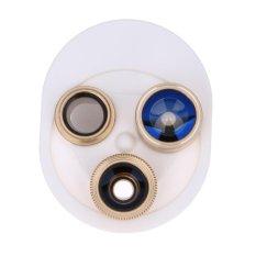 4 In 1 360 Derajat 15X Macro Fish Eye CPL Lensa Datar untuk Smart Phone (Emas)-Intl